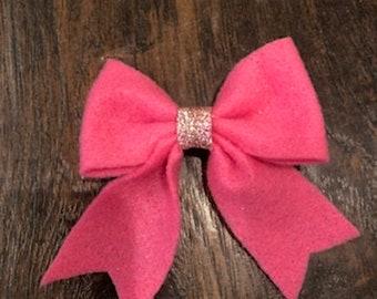 Pink Felt Hair Bow