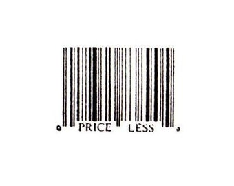 Barcode - Priceless unmounted rubber stamp UPC symbol, bar code, shopping, Sweet Grass Stamps No.15