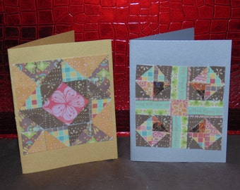 paper mosaic cards, quilt cards,set of 2 blank notecard