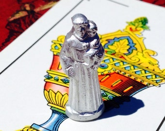 ST ANTHONY STATUE Vintage Religious Tiny Aluminum Pocket Shrine