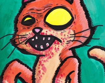 "Cat Zombie Painting Acrylic  9"" x 12"""