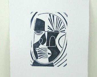 linocut - ELDER // 8x10 art print // printmaking // block print // dark blue // mask // original art // wall art // 4x6 // geometric faces