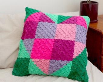 Crochet Heart Cushion Cover. Pattern Only. C2C Corner to Corner patchwork Heart Hug pdf