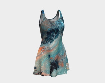 Ocean Wave All Over Print Flare Dress