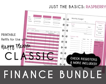 CLASSIC Happy Planner FINANCE Bundle  Check Register, Monthly Budget, Debt Payoff Tracker, Debtor Contacts Passwords Printable PDF Raspberry