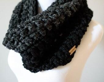 Cowl Scarf // Charcoal // Black Two-Tone Cowl //  Winter Scarf // Handmade Knitwear // Women's Scarf // Women's Winter Accessories