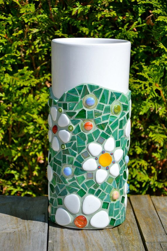Mosaic Vase Green Glass Flowers Tall White Ceramic