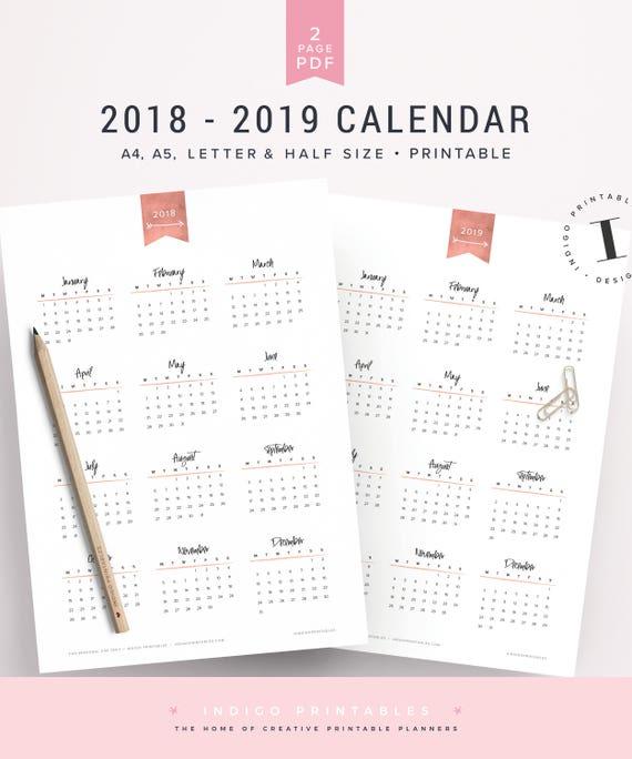 Rose Gold Calendar 2018-2019 Calendar Calendar 2019