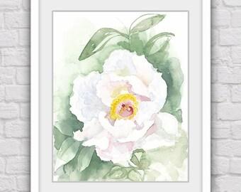 White flower print, Flower art, Digital print, Flower artwork, Watercolor print, Watercolor art, Downloadable art, Flower wall decor