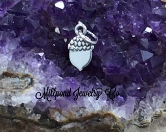 Acorn Charm, Acorn Pendant, Flat Acorn Charm, Nature Charm, Natural Charm, Nature Pendant, Sterling Silver Charm, Small, PS01675