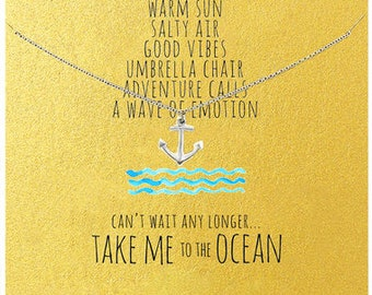 To The Ocean Inspirational Pendant in White Gold