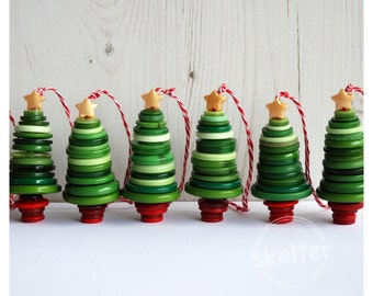 Button Christmas Tree Decoration - Handmade Button Hanging Tree Decoration - Unique Keepsake Gift, one supplied