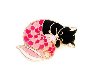 Pink purrmaid enamel pin (mermaid cat hard enamel pin lapel pin badge jewelry cute mermaid jewelry black cat pin cloisonne backpack pins)