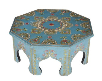 Indian Furniture Side Table Round Footstool Turquoise Wooden Table New
