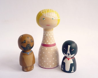 Personalized Peg doll with two pets FREE SHIPPING Custom Portrait Wooden hand painted girl woman dog cat
