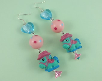 Kawaii Pony Earrings - cute horses with pretty beads, pink blue mint, Sweet Lolita, Harajuku Decora, Fairy-Kei, cowboy hat, horse lover gift