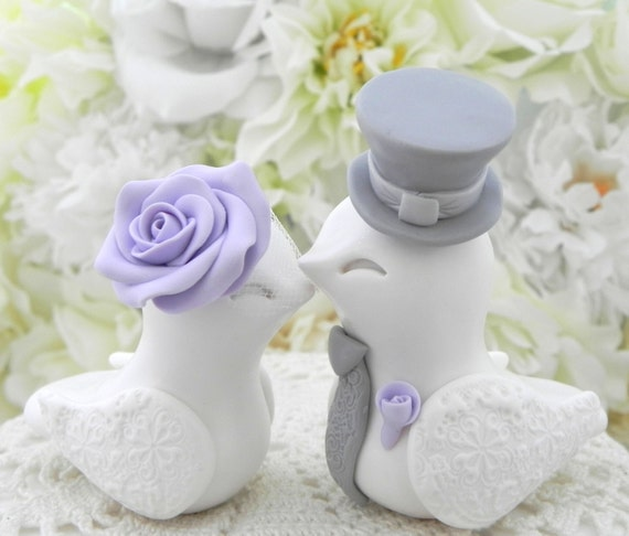 Love Birds Wedding Cake Topper, White, Lilac and Gray, Bride and Groom Keepsake, Fully Customizable