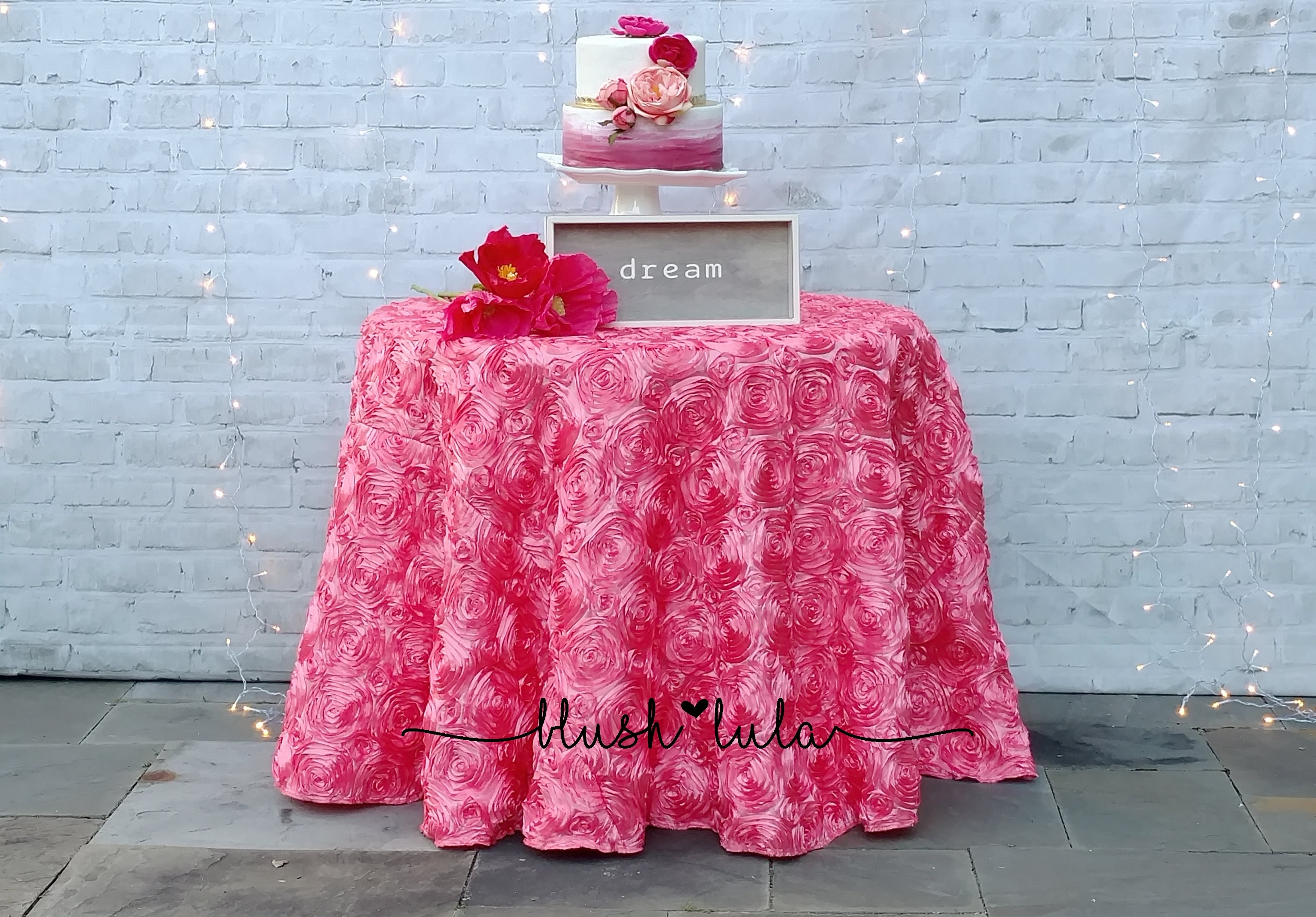 Peony Pink Rosette Flower Tablecloth Many Sizes Round or