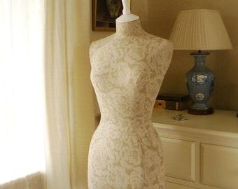 Bedroom Display Mannequin Two Toned Faded Roses Linen Dressform - Juliet