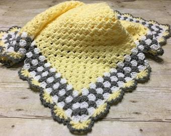 Yellow Grey Baby Blanket, Yellow Baby Blanket, Crochet Baby Blanket, Yellow Crochet Afghan, Baby Afghan Yellow Grey Blanket, Crochet Blanket