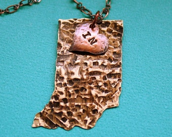 Love My State Necklace - Indiana - Hand Stamped Jewelry - United States of America Necklace - Custom State Jewelry