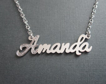 Personalized Cubic Zirconia Embellished Name Necklace - Custom Name Necklace - Personalized Name Gift - Gift for Women - Gift for Girl