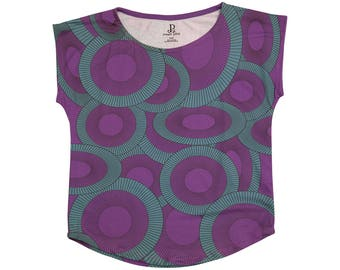 Ulta Violet And Teal Women's Geometric Graphic Short Sleeve Tee
