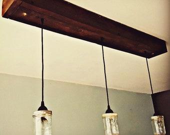 Rustic Wood Hanging Chandeliers. Lighting. Barn Wood. Mason Jar. Farmhouse  Lighting.