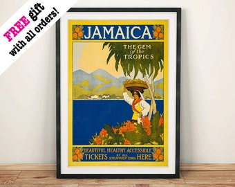 JAMAICA TRAVEL POSTER: Vintage Tropical Advert, Art Print Wall Hanging