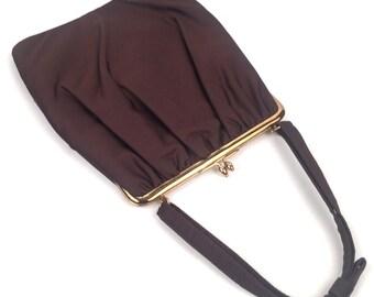 Vintage 1950s Ingber Brown Top Handle Handbag