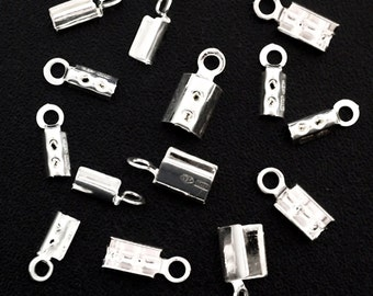 6 - Sterling Silver Fold Over Cord Ends - 100% Guarantee