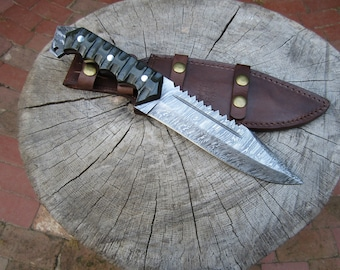 Damascus Steel Survival Bowie Knife with Sawback and Olive Drab Micarta Handle