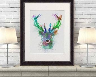 Deer home art - Deer Blue and Green print - Deer print Deer art decor Deer art print Stag art Deer decor Deer head art print Uk shop