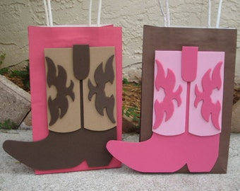 Cowboy or Cowgirl boot Birthday Party Favor Bag