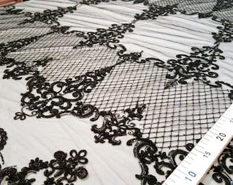 Black sequin lace fabric #2187