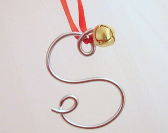 CUSTOM LISTING - Set of 4 Silver Wire Initials Ornament, Christmas Gift Tie-On or Gold with Jingle Bell