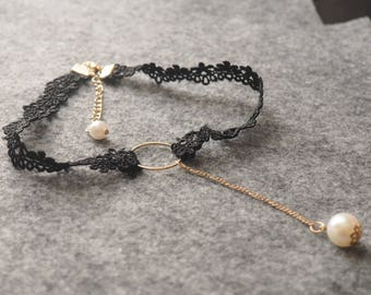 White/Black Lace Adjustable Choker Necklace with hanging white pearl, chain and pearl necklace