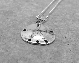 Sterling Silver Sand Dollar Necklace, Sand Dollar Jewelry, Sand Dollar Pendant, Charm Necklace, Sterling Silver Jewelry