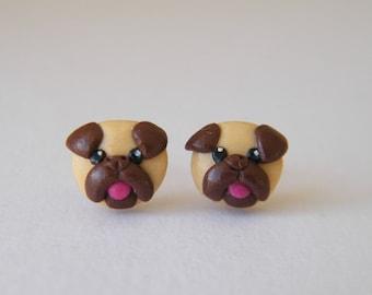 Pug Earrings - One Pair of Polymer Clay Pug Stud Earrings, Pug Jewellery, Pug Gift, Pug Earrings