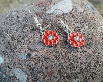Red Enamel Flower and Rhinestone Charm Earrings - Womens Fashion Accessories - Spring Easter Gift Ideas