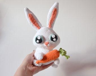 Crochet PATTERN - Snowball bunny rabbit pattern by Krawka