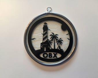 Handmade Stained Glass Outer Banks/OBX/Hatteras Scene Suncatcher