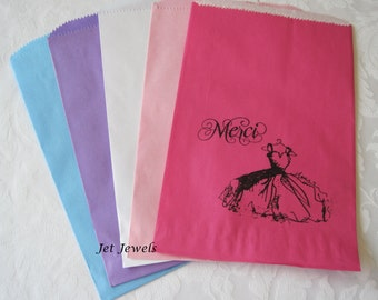 20 Paper Bags, Gift Bags, Candy Bags, Paris Theme Party, Party Favor Bags, Paper Gift Bags, White Bags, Pink Bags, Merci, Black Dress 6x9
