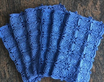 Vintage blue lace placemats set of 6 Crochet Handmade Granny squares French blue Nautical decor Seaside home  gift 15 BY 12 inches