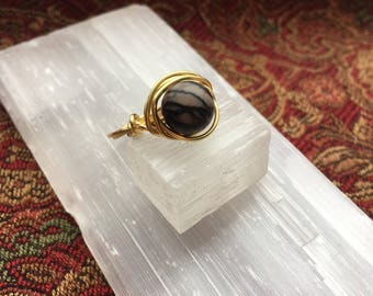 Wire Wrapped Ring, Silkstone Ring, Gold Ring