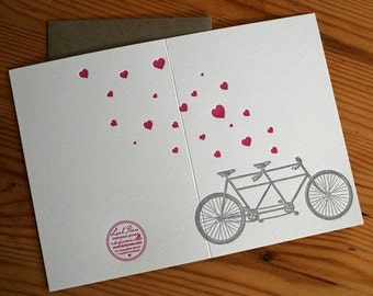 lark press letterpress valentines day or everyday tandem bike card with pink hearts