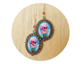"""Cotton Candy Pink Skull Earrings """"Cotton Candy Cthulhu"""" in Silver Frame"""