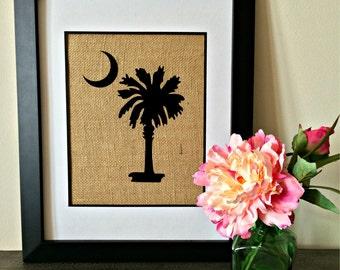 Palmetto. Burlap Print. South Carolina. Palmetto and Moon.