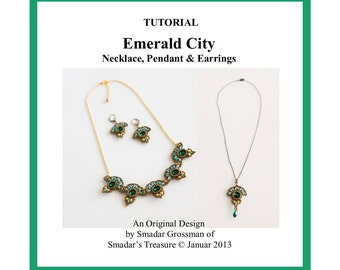 Beading Tutorial, Emerald City Necklace, Pendant, Earrings. Beading Pattern with SuperDuo, Rivoli, Seed Beads. Jewelry Beadwork Pattern