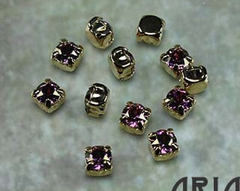LILAC SHADOW: Swarovski SS29 6.5mm 17704 Xilion Gold Plated Two Hole Sew-On Slider Bead Component (12)